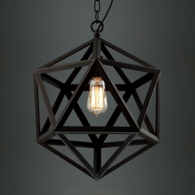 Star Of David Cage Suspension Industrial 1 Light Pendant Light in Black Finished