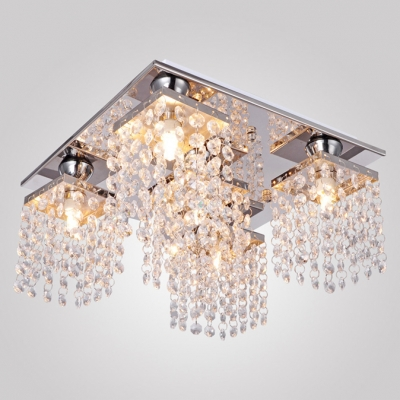 Strings of  Clear Crystals and Sparkling  Chessboard Canopy Add Glamour to Stunning Semi Flush Ceiling Light