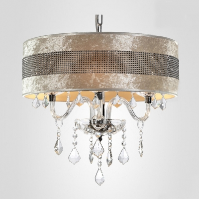 Stunning Plastic Crystal Embedded Shade Clear Crystal Droplets Chandelier Ceiling Light