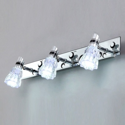 Stylish Three Lights Modern Bathroom Lighting With Clear Glass Shades And  Graceful Chrome Finish