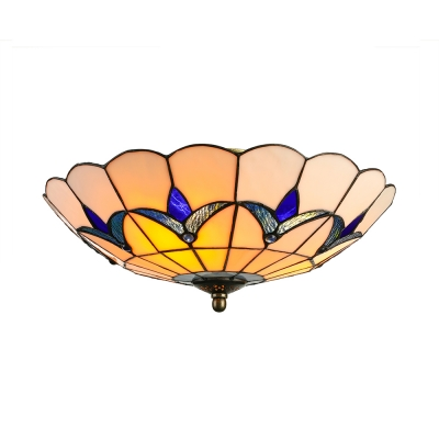 Three Lights Blue Flowers Motif Glass Shade Tiffany Flush Mount Ceiling Light