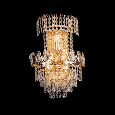 Timeless Three-light Crystal Wall Sconce With Contemporary Glamorous Gold Finish