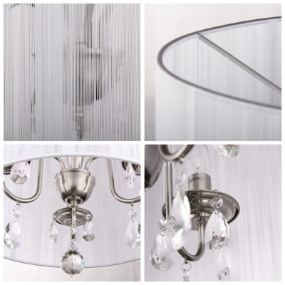 White Cylinder Shade Crystal Drops and Ball Modern 43.3