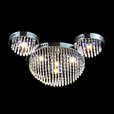 Add Spectacular New Look with Contemporary Flushmount Ceiling Light with Dramatic Crystals