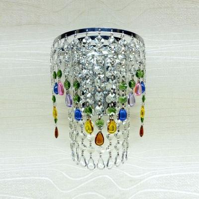 Amazing Electroplated Silver Finish Pairs with Graceful Crystal Beads Add  Charm to Sparkling One-light  Wall Sconce