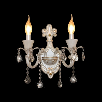 Baycheer / Beatiful Vase Pattern Crystal Wall Light Fixture with Curved Sleek Zin Alloy Arm