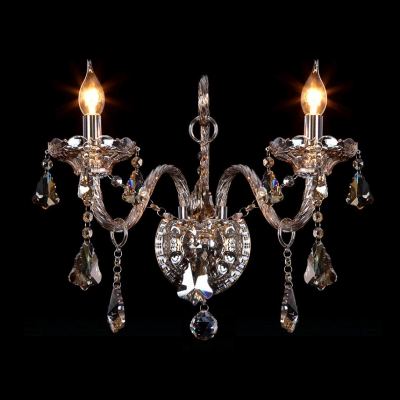 Beauteous Two Candle Lights Wall Sconce with Graceful Scrolling Arms and Faceted Crystal Drops