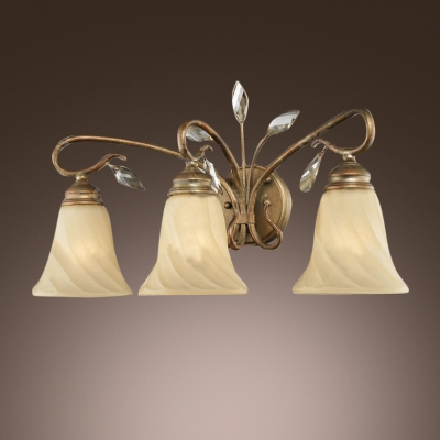 Beautiful Bronze Finish Wall Sconce with Ribbed Glass and Clear Crystal Accents