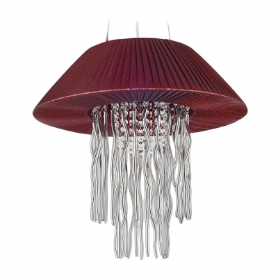 Bold Red Folded Fabric Shade and Beautiful Strands of Crystal Beads Adorned Sophisticated Three Lights Pendant Light