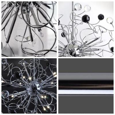 Clear and Black Crystal  Star Cluster Metal Scrolls Brilliant Design Large Pendant