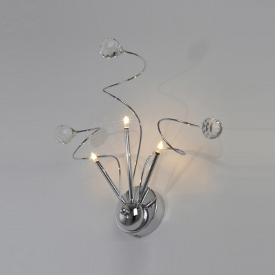Decorative Wall Sconce Featuring Dramatic Accents of  Sleek Scrolls and Clear Crystal