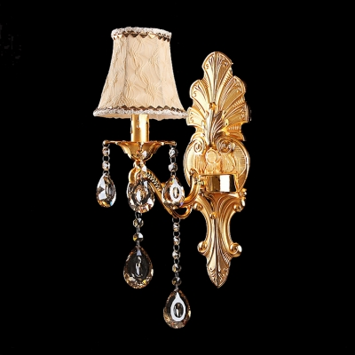 Elaborate Crystal Accent Single Light Wall Sconce Offers Decorative Gold Detailing and White Fabric Bell Shade