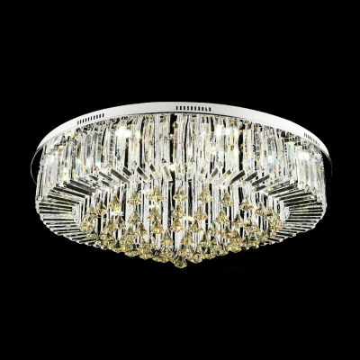 Elegant and Romantic Rounded Flush Mount Hanging Crystal Diamonds and Prisms