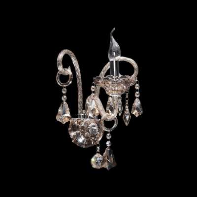 Elegant Dazzling Crystal Scrolling Arms Add Glamour to Delightful Two Light Wall Sconce