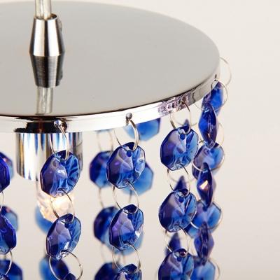 Elegant Strands of Blue Crystal Beads Add Charm to Smashing Multi-Light Pendant