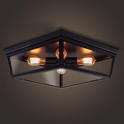 Close To Ceiling Lights: Four Light Black Flush Mount Ceiling Light with Glass Shade,Lighting
