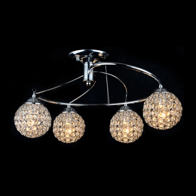 Golden Spiral Arms and Shinning Crystal Spheres Semi-Flush Mount Ceiling Light