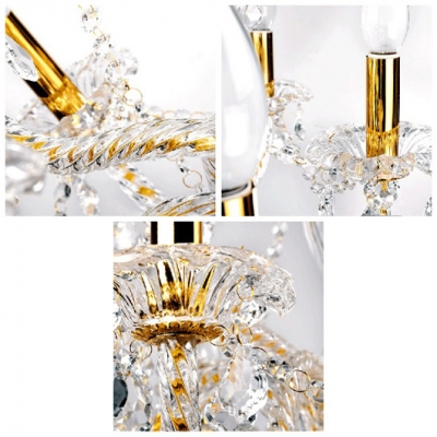 Large Brilliant and Sparkling 12-Light Traditional Golden Candle Light Chandelier