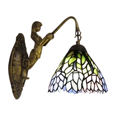 Mermaid Arm Wall Sconce Featured Down Lighting Floral Glass Shade