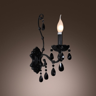 Modern Black Finish Wall Sconce With One Candle Light Adorned Beautiful Crystal Droplets