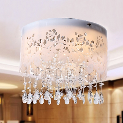 Modern Yet Traditional Ceiling Light Spotlighted with Elaborate Curved Pattern and Beautiful Crystal Drops