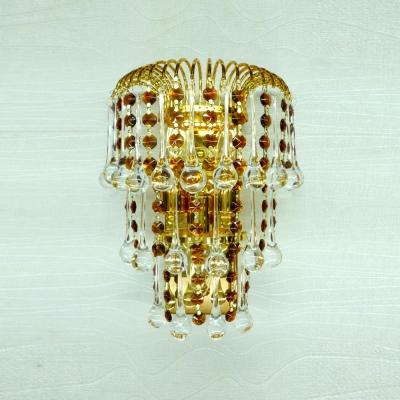 Ravishing Gold Finish and Strands of Amber Crystal Beads Add Charm to Glamorous Three-light Wall Light Fixture