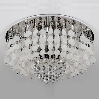 Romantic and Soft White Seashells Crystal Beaded Flush Mount Ceiling Light