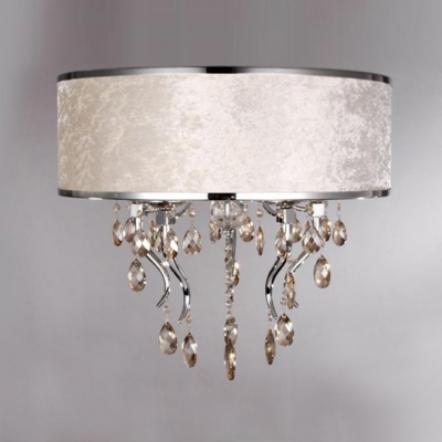 Romantic White Flannel Drum Shade Flush Mount Light Chandelier Accented by Amber Crystals