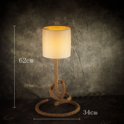 Rope Based Industrial LED Table Lamp with Fabric Shade