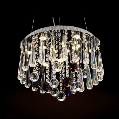 Round 10-Light LED Large Pendant Light Accented by Elegant Crystal Droplets