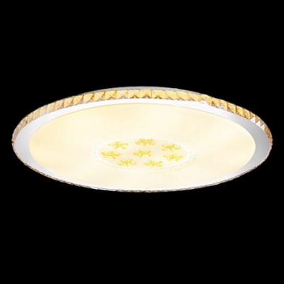 "Round 13""Wide Amber Crystal Diamonds and Flower Accents Contemporary Style Flush Mount Light"