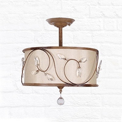 Rustic Iron Scrolls Faceted Crystal Leaf Accented Semi Flush Mount Hanging Crystal Ball