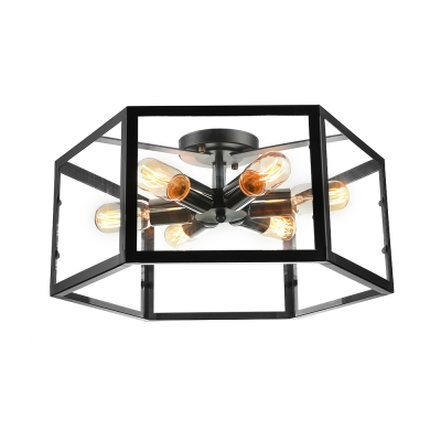 Six Light Black LED Flush Mount Ceiling Light with Glass Shade