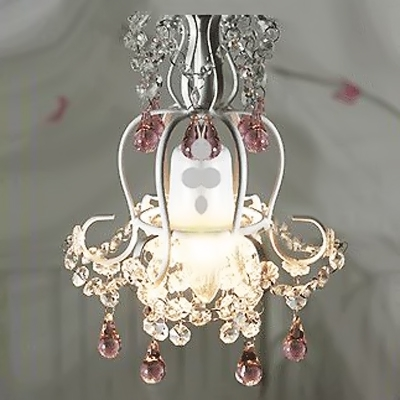 Soft and Romantic White Finished Pink and Clear Crystal Accented Chandelier Light