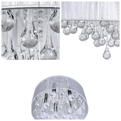 Soft and White Sheer Shade and Stainless Steel Canopy 5-Light Brilliant Flush Mount Lights