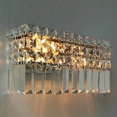 Sparkling Bathroom Light Features Hanging Crystals and Chrome Finish ...