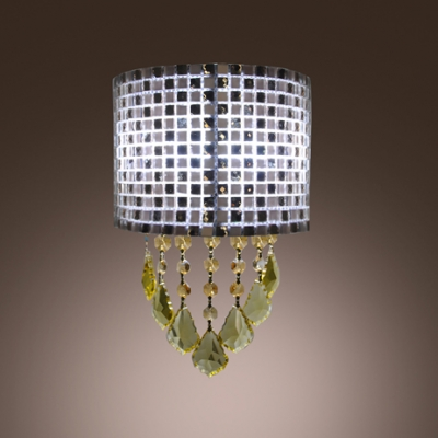 Sparkling Wall Light with Amber Crystal Droplets Add Feminine Touch to Your Bathroom