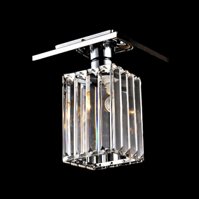 Square and Rectangle Faceted Clear Crystal Charming Semi Flush Mount Lighting
