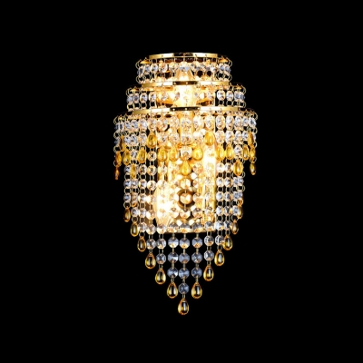 Three Tiers of Crystals and Gold Finished Frame Reinforces Wall Sconce Look of  Elegance