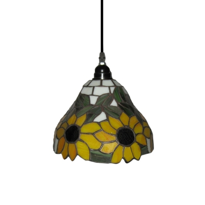 Yellow Sunflower Motif Hand-made Glass Shade Tiffany Mini Pendant
