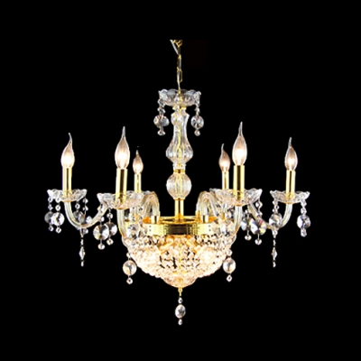 9 Candle Light Golden Finished Center Crystal Strands Bowl Chandelier