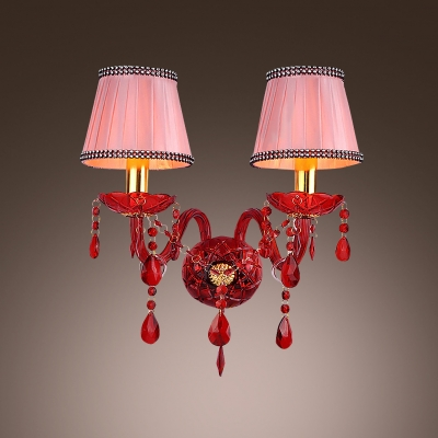 Bold Red Two Light Wall Sconce with Graceful Curving Arms and Pink Fabric Shades