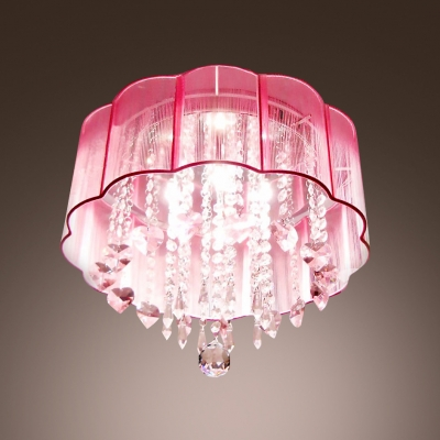Charming Crystal Flush Mount Ceiling Light Fixture Adorned