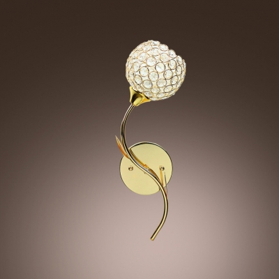 Clear Diamond Crystal and Graceful Scrolls Add Charm to Delightful Gold Finish Wall Sconce
