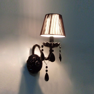 Contemporary Concise Black Fabric Shade and Unique Black Crystal Drops Add Charm to Dazzling Wall Sconce