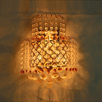 Contemporary Wall Light Fixture Embellished with Dazzling Clear Crystal Beads and Balls