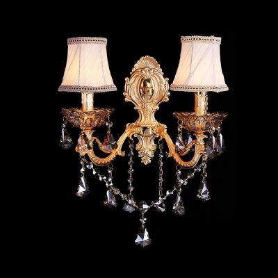 Delicate Gold Scrolling Arms And White Fabric Shades Creates Stunning Wall Sconce