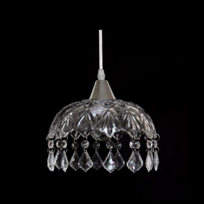 """Distinctive 7.8""""  Wide Dome Shade Trimming with Beautiful Crystal Teardrops Composed Mini Pendant Light in Glamorous Look"""