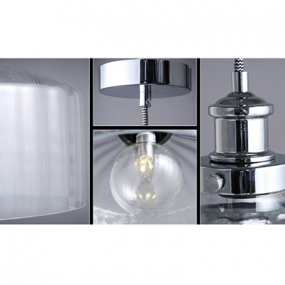 Drum Shape Clear Glass Mini Pendant Light