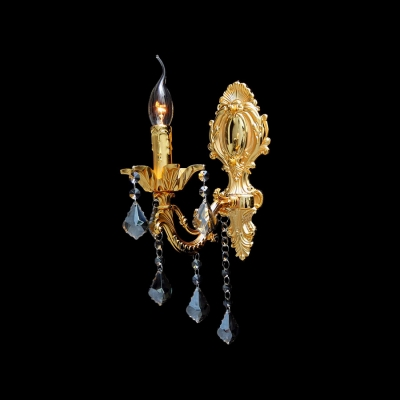 Faddish 17'' High Wall Light Fixture Accented with Hand-cut Crystal Drops and Luxurious Gold Detailing Base